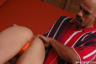Slutty MILF babe in bikini fitting a massive black cock in her pussy
