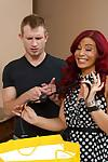Tanned redhead Asian wife Ryder Skye fucks with a young dick