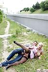 Chubby MILF in black stockings Veronika G gets slammed outdoor