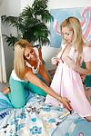 Blonde lesbians Stevie Lix and Odette Delacroix tongue kissing and tribbing