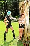 Hardcore femdom BDSM scene at the open air by Vanessa and Leigh Darby