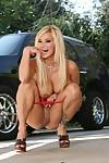 Fabulous MILF pornstar Shyla Stylez exposing perfect round tits outdoor