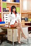 Latina secretary in pantyhose Luna Star baring bare upskirt ass in office