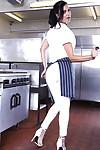 Immensely hot cook slowly uncovering her ravishing curves at her workplace