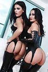 Hot babes in latex Sandra Romain & Honey Demon have some lesbian fun