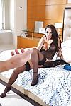 Tattooed Latina wife Lela Star dresses in high heels and lingerie for hubby