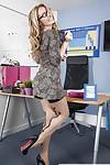 European MILF teacher Stacey Saran strips down to stocking for babe spread