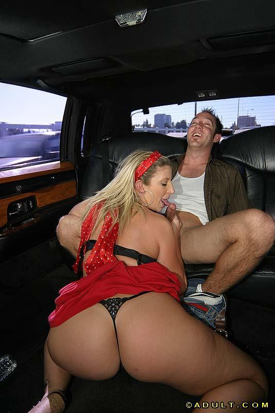 Blonde milf blows a guy in car