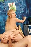 Desirable well-stacked blonde in nylons gives a footjob and gets screwed