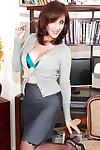 Mature office secretary in glasses Roni strips to lacy lingerie