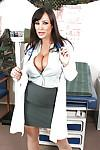 Mature Lisa Ann in stockings with big tits is stripping off uniform