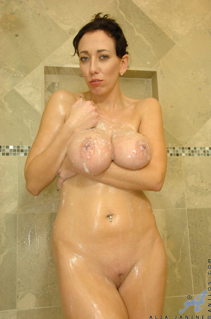 Redhead mature in the shower