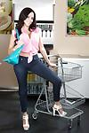 Milf mom with big tits Ariella Ferrera is posing in her wonderful jeans
