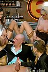 Lecherous piss sluts have a passionate groupsex with a bald guy