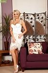 Beautiful blonde mum Amber Jayne flashing thigh and stocking tops