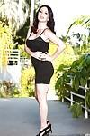 Brunette mom RayVeness flashing upskirt underwear underneath black dress