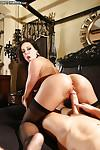Kendra Lust has her pussy licked out while in a tight black suit