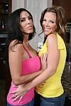 Big titted MILFs Veronica Rayne and Kayla Synz stripping and kissing