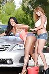Latina lesbians Kianna Dior and Kiara Mia wash a car and have sex