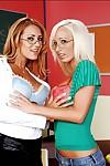 Lesbian MILF teacher in glasses Lichelle Marie licking Trina Michaels