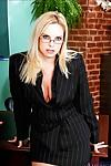 Sultry teacher in glasses Cameron Keyes denudes MILF pussy and tits