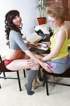 Horny milf lesbians Victoria and Irene teasing each other