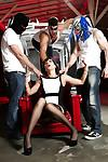 Naughty MILF Dana DeArmond gets fucked and covered in cum by group of men