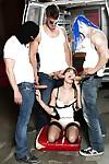 Mature slut Dana DeRmond gangbanged by group of masked men