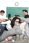 MILF pornstar Sarah Shevon getting gangbanged in teacher student scene