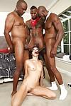 Interracial gangbang with a beautiful Asian brunette Cece Stone