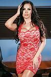 Buxom Euro MILF Nikki Benz removes dress to pose naked on office desk