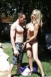 Busty blonde MILF pornstar Sindy Lange deepthroating cock outdoors