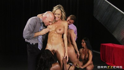 Brown diamond jackson in a mammoth tit group sex on stage
