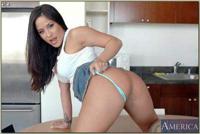 Tempting latina chicito Jenaveve Jolie strips from underclothes and spreads pussy