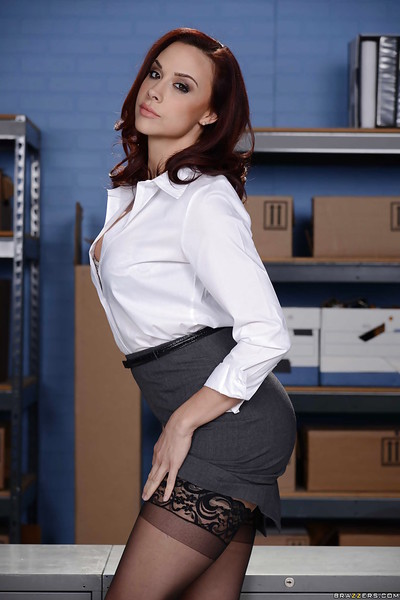 Elegant office worker Chanel Preston striking moist positions in short skirt and pipe