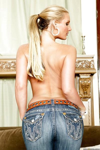 Busty MILF Natasha Precious takes off her lingerie to boast off big booty