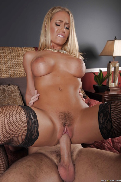 Captivating blonde in stockings Nicole Aniston gives a oral sex and accepts bonked