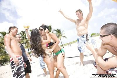 3 bikini sluts on southbeach pursue down some new knob