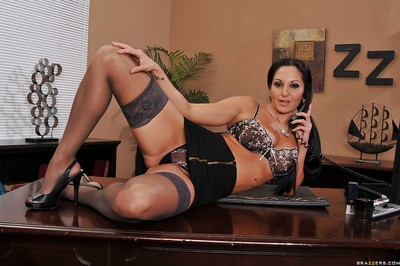MILF lass with big woman passports Ava Addams widening legs in office uncovered