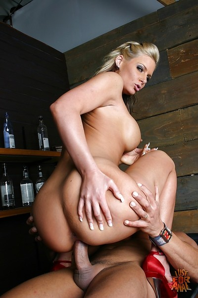 Shaved snatch and tight apple bottoms of blonde milf Phoenix Marie dug hard