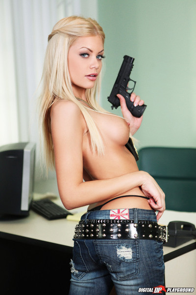 Riley steele gets drilled by a police inspector in her office