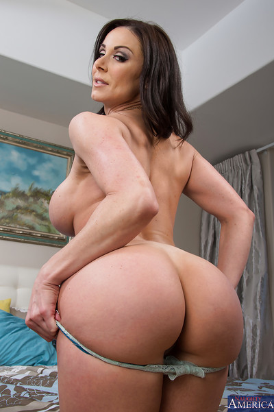Amazing dark hair milf Kendra showing her boobies and bawdy cleft