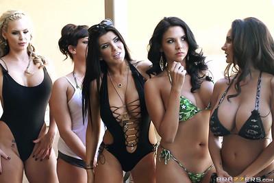 Brazzers pornstars in massive bikini sex orgy