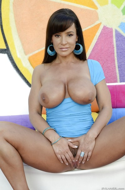 Charming pornstar Lisa Ann revealing her heavy cans and inviting pussy