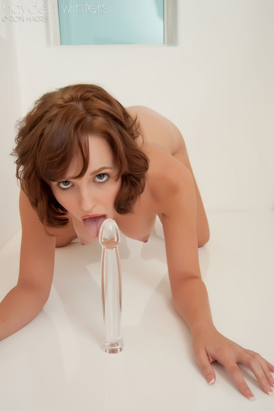 Redhead cutie hayden winters playing with a glass fake penis