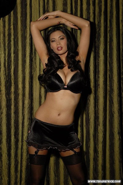 Largest tit asian babe tera patrick posing in ebony sexy pants
