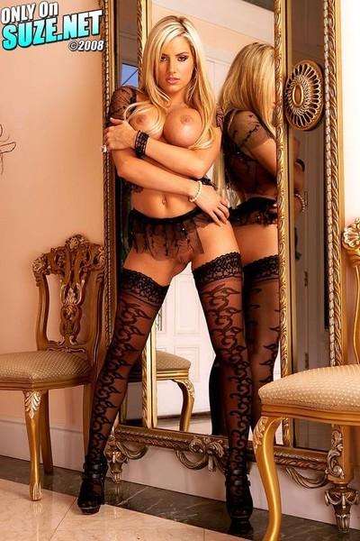 Teagan presley posing in ebon nylons