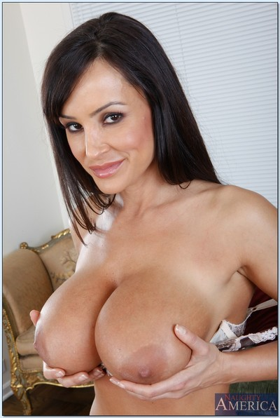 Breasty MILF Lisa Ann revealing booming milk sacks and ass from sexy lingerie
