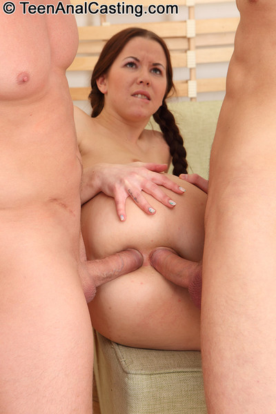 Juvenile anal opening pounded for principal time by dualistic thick cocks