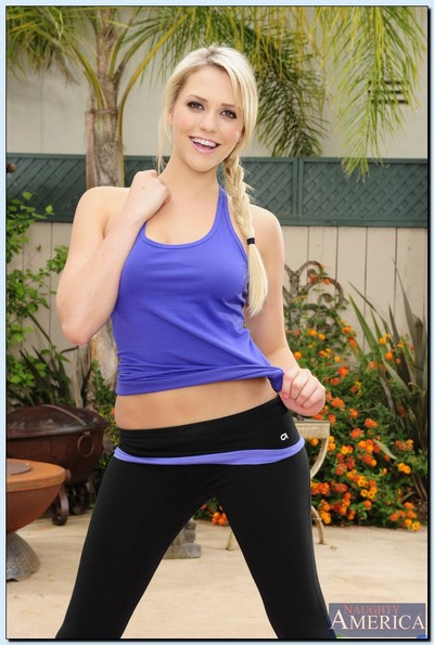 Sporty princess Mia Malkova uncovering her amazingly hot crooks outdoor